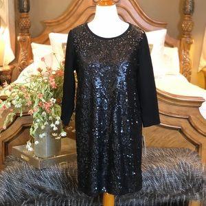 DKNYC BNWT! Black Sequin Knit Dress Size XL